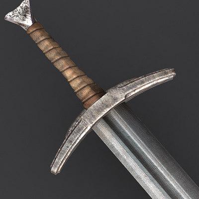 old medieval long sword 3d 3ds