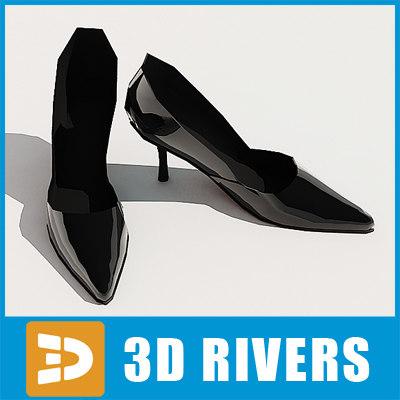 3d black heels shoes model