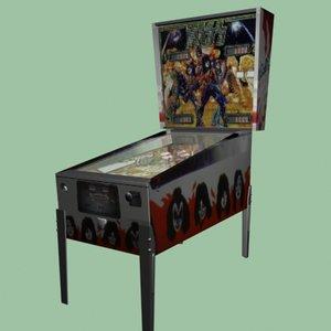 kiss pinball machine 3d model