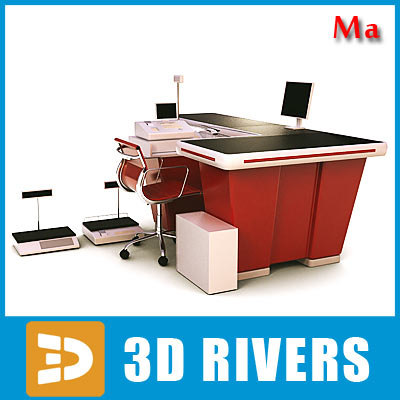 supermarket counter desk cash register 3d model