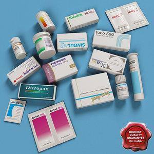 3d medicines boxes modelled model