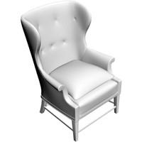 wing chair 3d obj