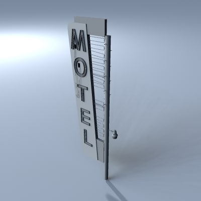 old retro motel sign 3d 3ds