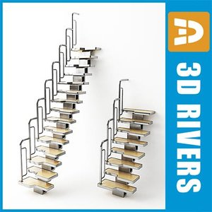 staircase steps interior 3d 3ds