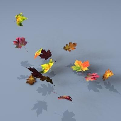 3d model swirling leaves