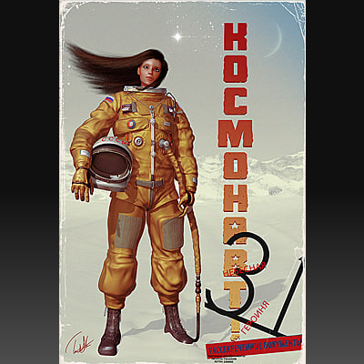 female astronaut 3d model