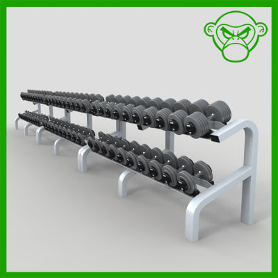 dumbbell racks 3d obj