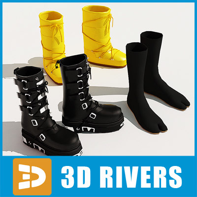 3d shoes set street fashion model