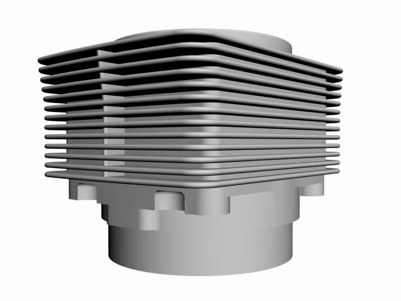 3d air cooled engine cylinder model