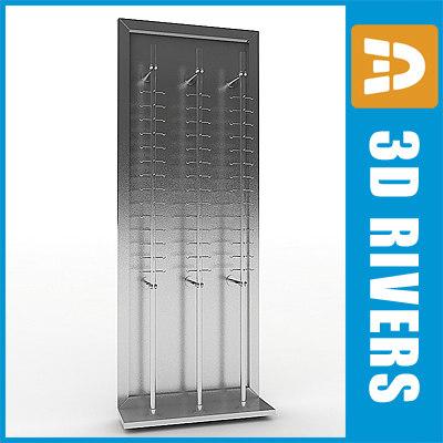 3d model metallic glasses rack display