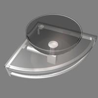 3d corner glass sink