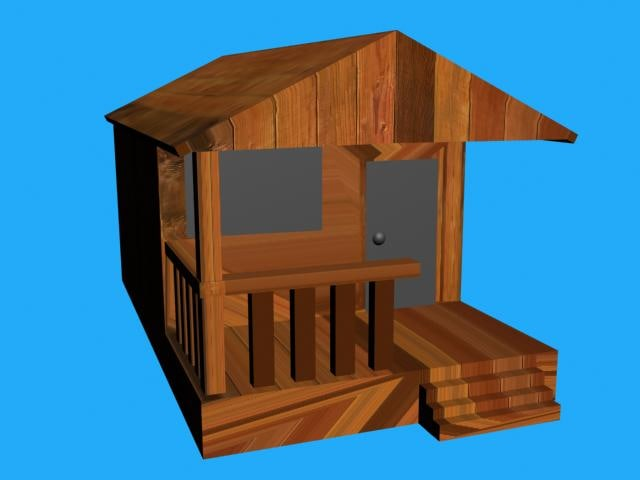 free wood house 3d model