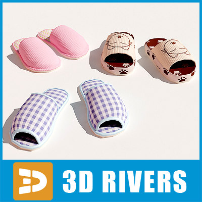 house slippers set shoes 3d 3ds