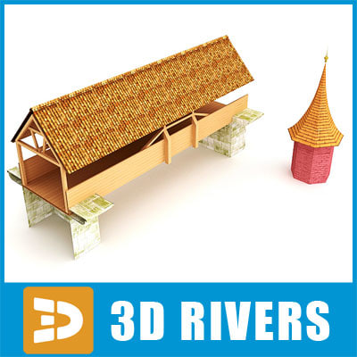 3dsmax medieval wooden bridge tile roof