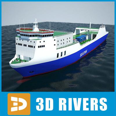 3d model ro-ro container ship cargo