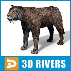 extinct smilodon cat 3d model