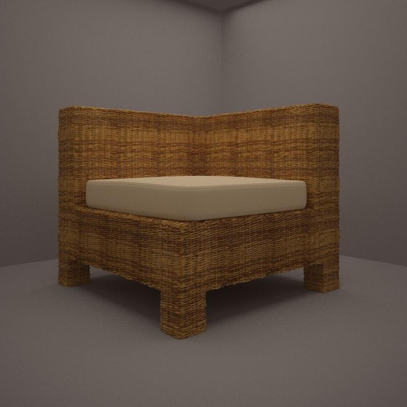3d model rattan armchair