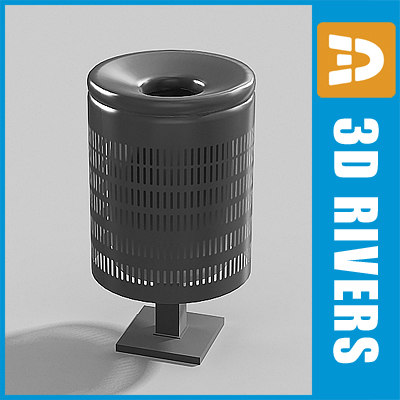 perforated trash cans 3d model