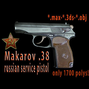 3d pistols serve 3d-model russian makarov model