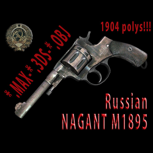 3ds max revolvers 3d-model russian nagant