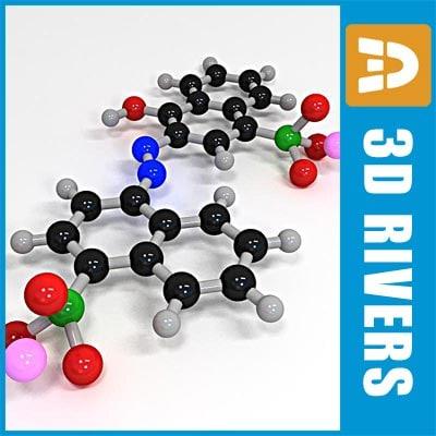 3d model azorubine molecule structure