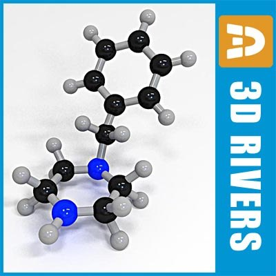 benzylpiperazine molecule structure 3d 3ds