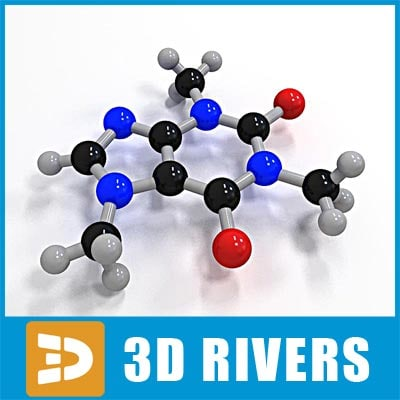 3d caffeine molecule structure