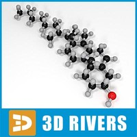 3d model cholesterol molecule structure
