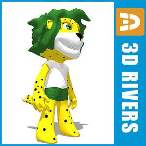 zakumi football 2010 mascot 3d model