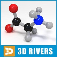 glycine molecule structure 3d model