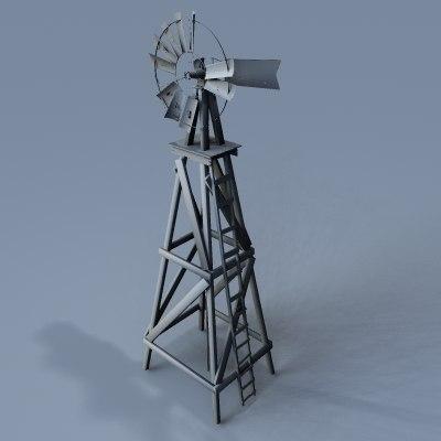 3d old farm windmill