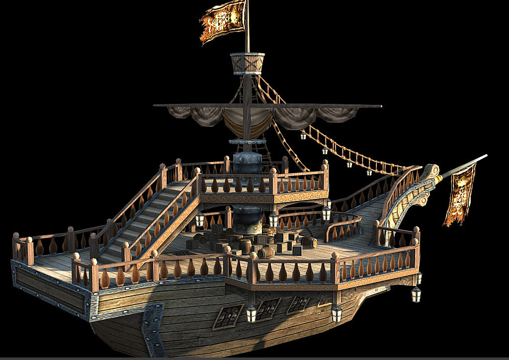 3ds max sea rover pirate boat