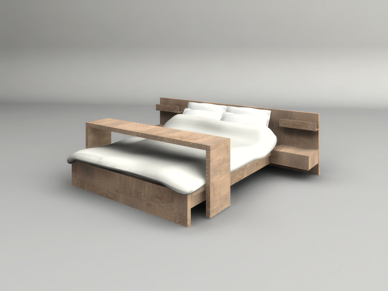 3d model of wooden bed