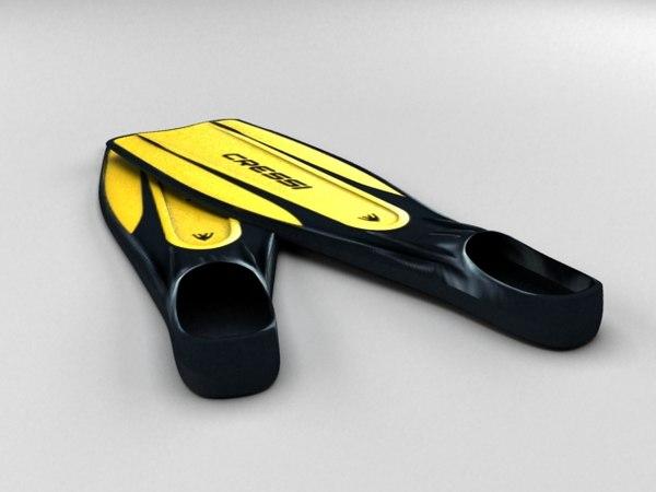 diving fins cressi 3d model