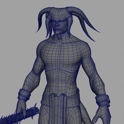 3d demon figure model