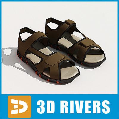 3d men sandals shoes model