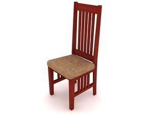mission oak chair furniture 3d model