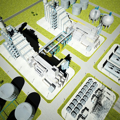 3d natural gas power plant model