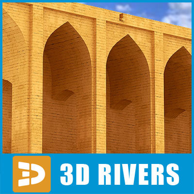 3d arabic stone oriental bridge model