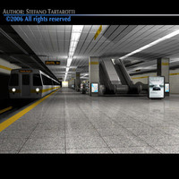 Subway station with train