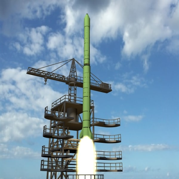 north taepo-dong-1 rocket satellite 3d model