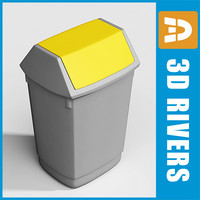 plastic trash cans bin 3d model