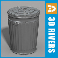 metallic trash cans garbage dumpster 3d max