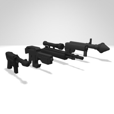 3d model pack lego weapons