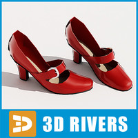 red heels shoes 3d 3ds