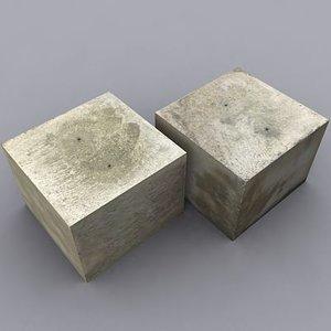3d weathered concrete block model