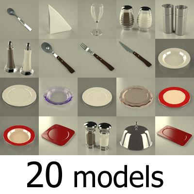 restaurant set 3d model