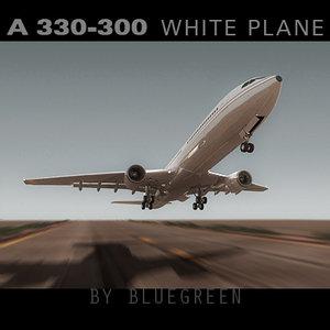 3d airbus a330-300 white plane model