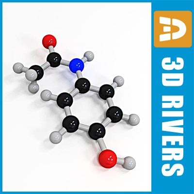 3d acetaminophen molecule structure model