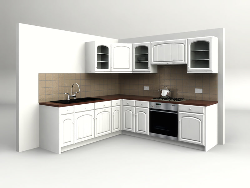 Country kitchen 3d model for Model kitchen images